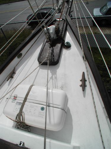Foredeck w/ Sprit, Windlass, Liferaft, and High Toe Rails