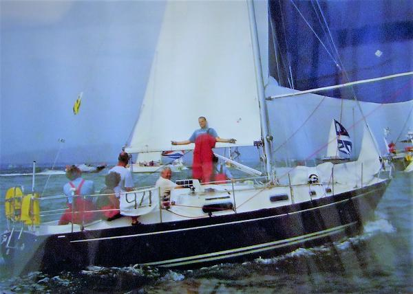 Contessa 32 Zenith joining in with the racing.
