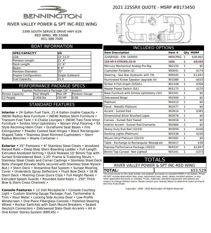 Bennington SX Series 22 SSRX - RADIAL CRUISE