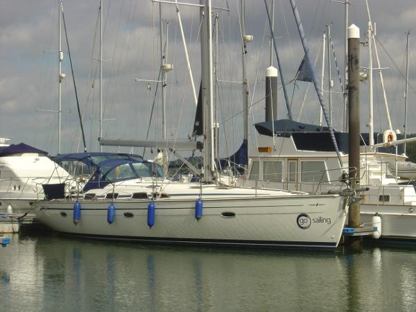 Bavaria 47 Moored showing p/side