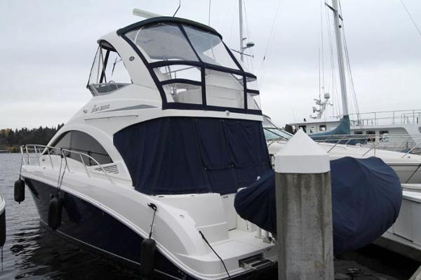 Sea Ray 36 Sedan Bridge Dockside Exterior - Port Aft Quarter