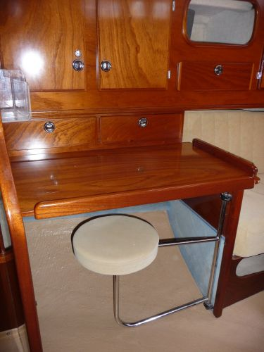 Aft cabin desk with slide out chair