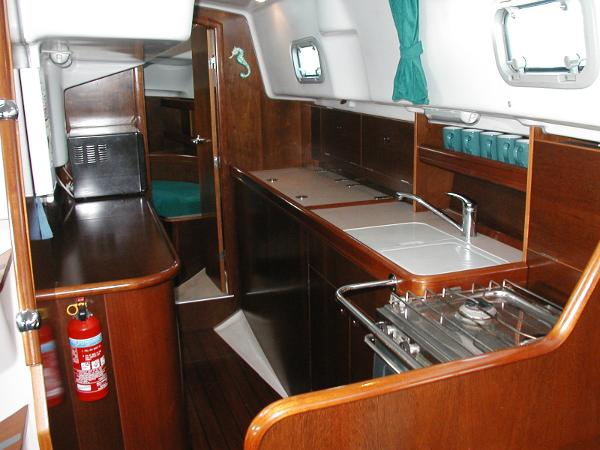 Aft from galley to master cabin