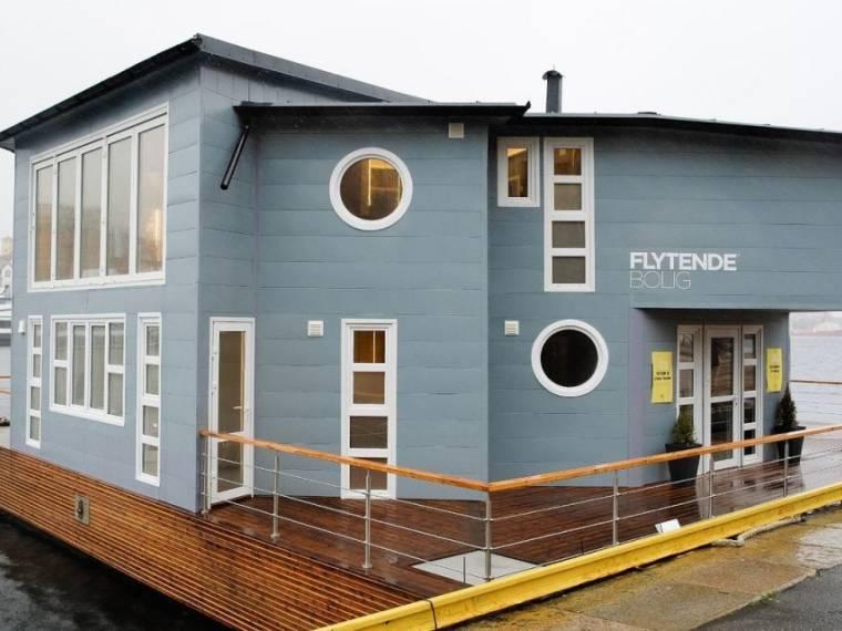Grey Floating House Houseboat