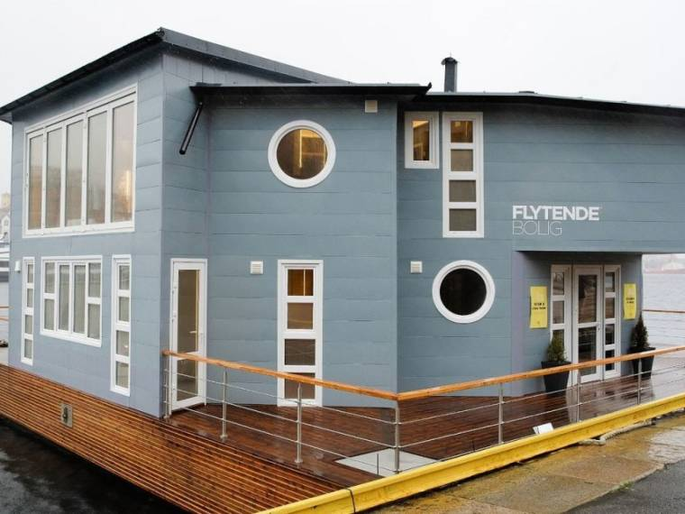 Grey Floating House Houseboat