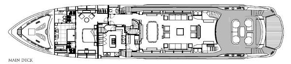 Sunseeker 40M Yacht Main Deck Layout Plan