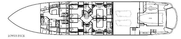 Sunseeker 40M Yacht Lower Deck Layout Plan