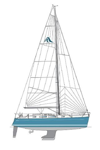Hanse 342 side elevation.