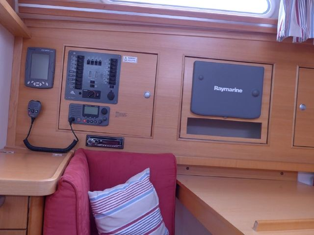 Hanse 342 nav station and neat switch board.