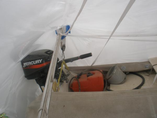 Davits, dinghy and outboard