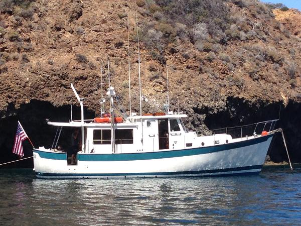 Willard Marine Pilothouse Trawler Quest at anchor