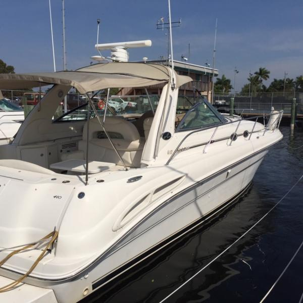 Sea Ray 410 Express Cruiser Exterior Starboard at Slip