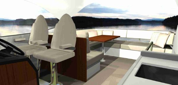 Maritimo M45 Flybridge Dining Layout