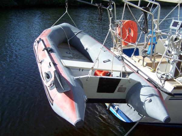 Dinghy (not included) on cross-braced davits