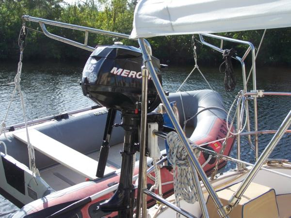 Mercury outboard (not included)