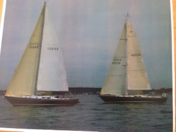 Morgan 42 Sloop Under Sail with Another Morgan