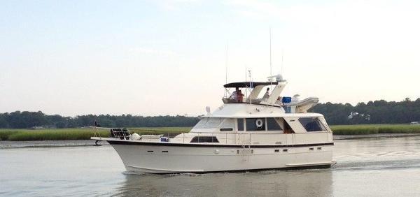 Hatteras 53 Motoryacht Port Profile Underway