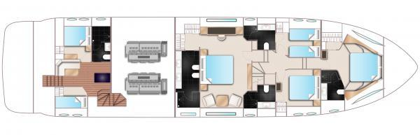 Princess Flybridge 88 Motor Yacht Lower Deck Layout Plan