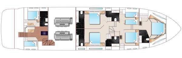 Princess Flybridge 88 Motor Yacht Lower Deck Optional Layout Plan