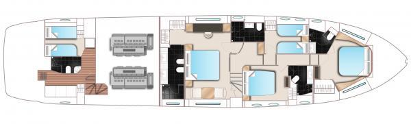 Princess Flybridge 82 Motor Yacht Lower Deck Layout Plan