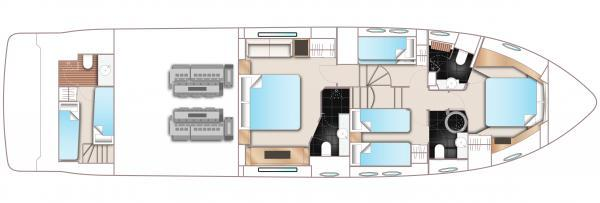 Princess Flybridge 64 Motor Yacht Lower Deck Layout Plan