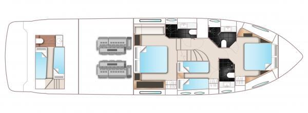 Princess Flybridge 60 Motor Yacht Lower Deck Layout Plan