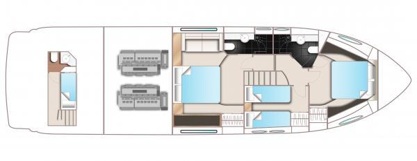Princess Flybridge 56 Motor Yacht Lower Deck Layout Plan