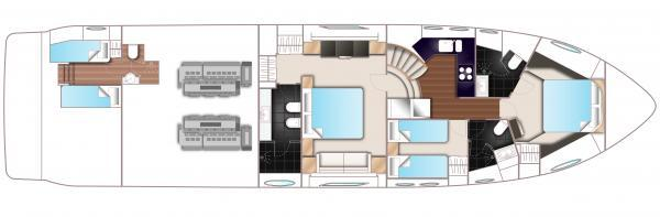 Princess V72 Lower Deck Layout Plan
