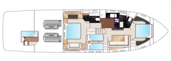 Princess V62-S Lower Deck Layout Plan