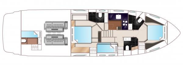 Princess V57 Lower Deck Layout Plan