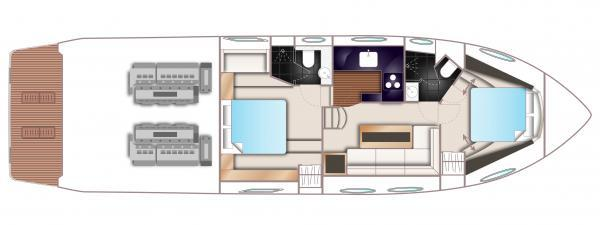 Princess V52 Lower Deck Layout Plan
