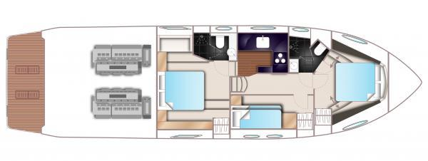 Princess V52 Lower Deck Optional Layout Plan