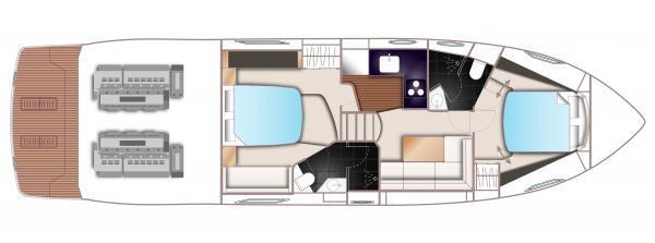 Princess V48 Lower Deck Layout Plan