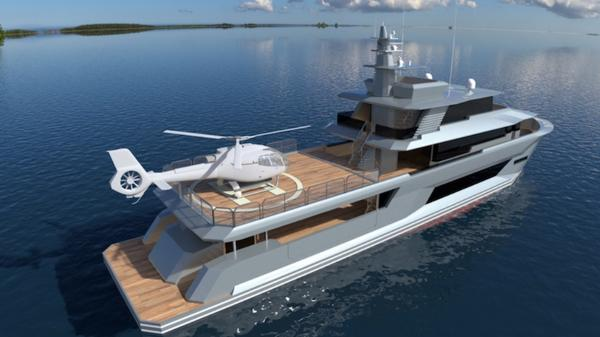 Custom Conversion 43 m. Expedition Helideck Concept Version