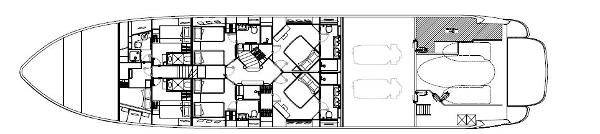 Sunseeker 34M Yacht Lower Deck Layout Plan