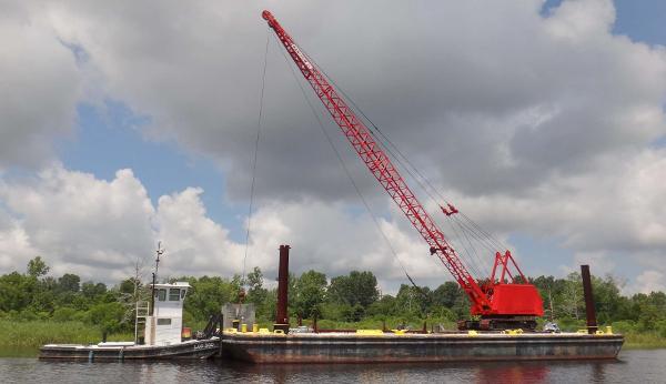 Deck Spud Barge - 65 Ton Crane  - 36 Pusher Tug Boat