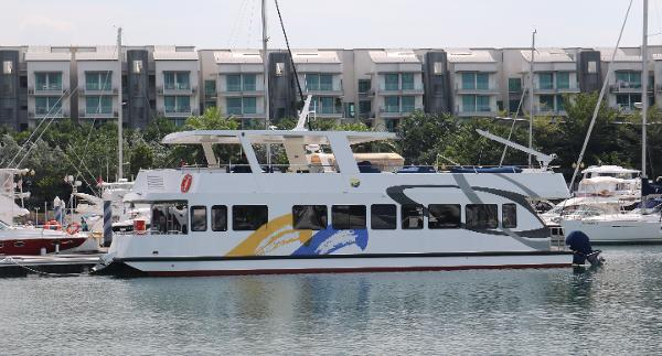 57 Foot Power Catamaran Portside view