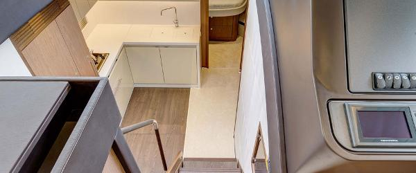 Step down into a spacious working galley