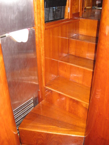 Stairs from galley to pilothouse