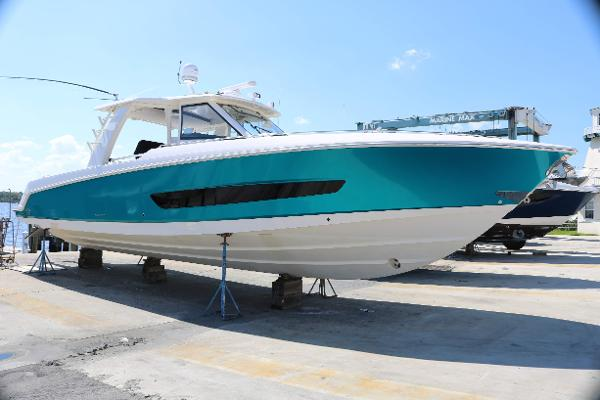 Boston Whaler 420 Outrage Hull Wrapped in Metallic Vinyl - White hull underneath