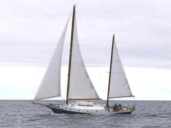 Custom Steel Ketch Defontaine Under Sail