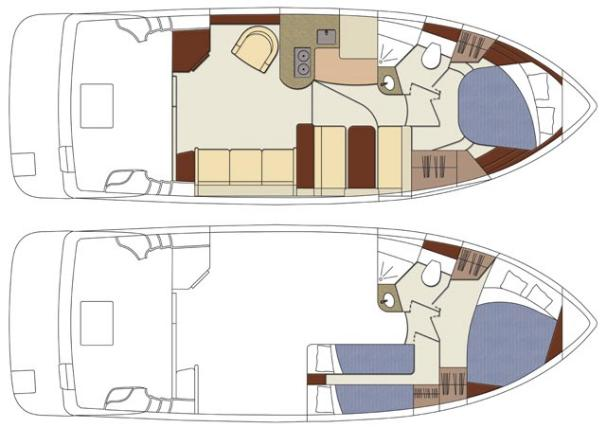 Standard and optional cabin arrangements.