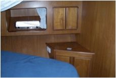 Guest cabin cabinetry to starboard