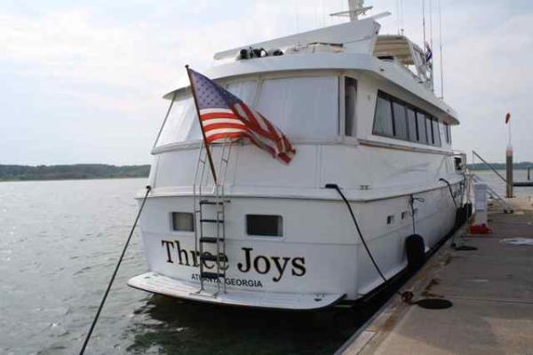 70' Hatteras Motoryacht aft profile