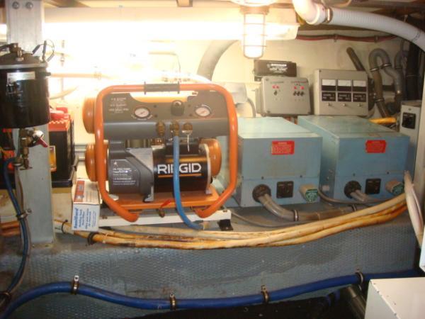 70' Hatteras Motoryacht generator room starboard