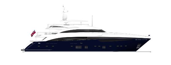 Princess M Class 40M Profile Blue Hull With Hardtop