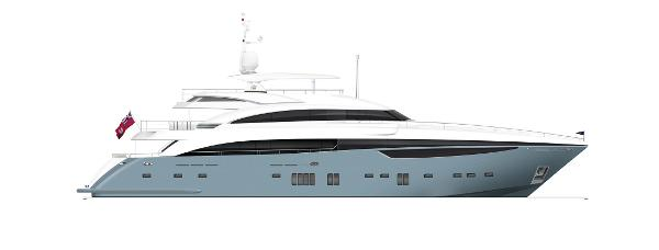 Princess M Class 40M Profile Grey Hull With Hardtop