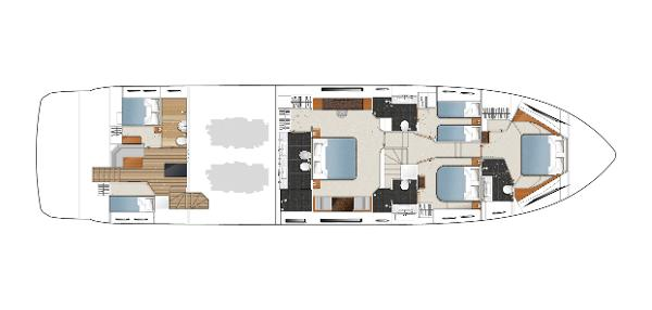 Princess Flybridge 88 Motor Yacht Lower Deck Layout