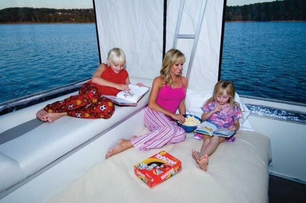 Easily convert the aft deck into a comfy overnight berth.