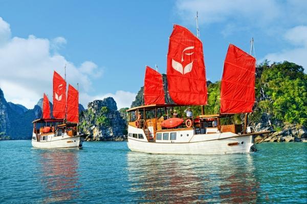 Custom Floating Resort of 22 custom built Vietnamese Junks